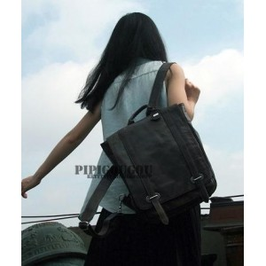 black leather women backpack