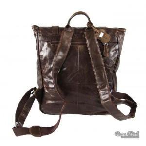 coffee leather women backpack
