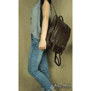 womens coffee leather backpack