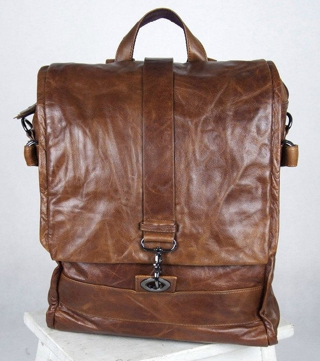 Men leather bag, leather womens backpack - BagsWish