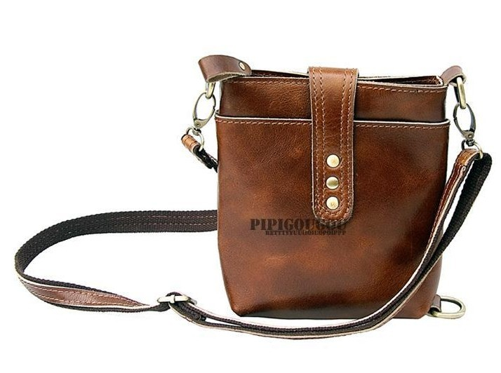 Vintage Messenger Camera Bag Coffee Small Leather