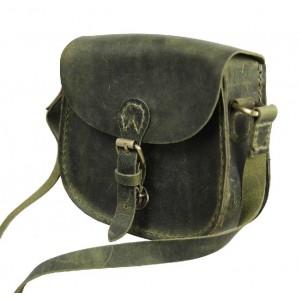 Vintage leather messenger bags for women, green leather messenger bag