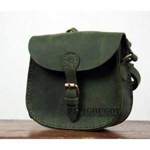 retro green leather messenger bag