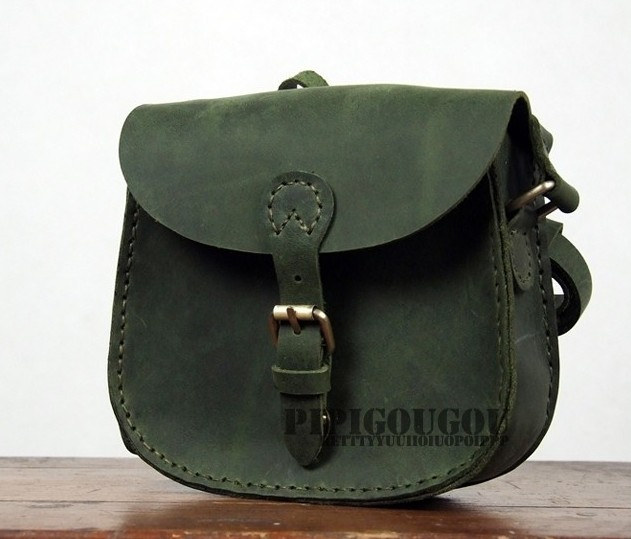 Retro Green Leather Messenger Bag
