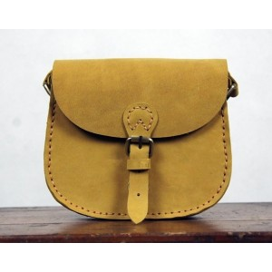 yellow Vintage leather messenger bags for women
