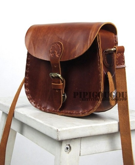 ... brown Vintage leather messenger bag ... 29fb1b8fd0e89