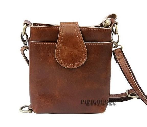 Vintage messenger camera bag, coffee small leather messenger bag ...