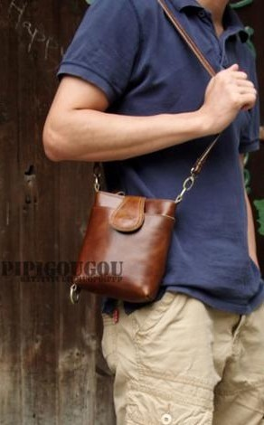 Vintage messenger camera bag, coffee small leather messenger bag ...