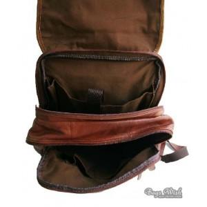 brown leather vintage backpack