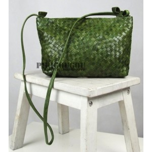 green Leather messenger bag for women