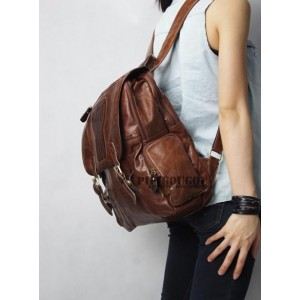 womens leather vintage backpack
