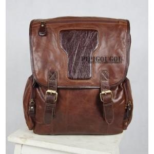 Retro notebook laptop bag coffee, brown leather vintage backpack