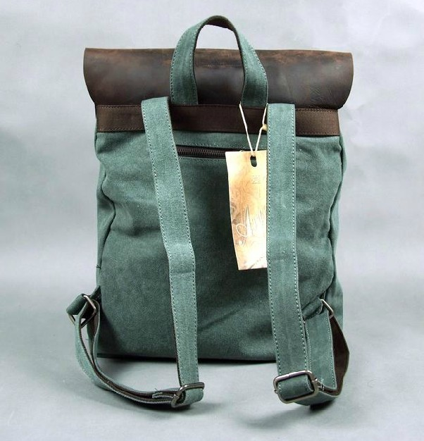 4cf15eb208 Book bags  canvas leather backpacks  green Book bags ...