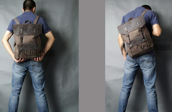 ... mens canvas leather backpacks  coffee Book bags ... 8a7453ce89