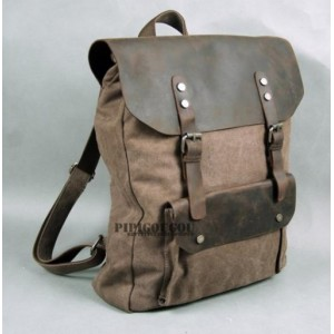 coffee canvas leather backpacks