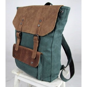 green canvas leather backpacks
