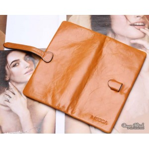 orange leather trifold wallet