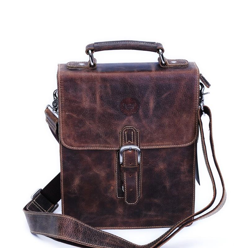 Mens leather messenger bag, vertical messenger bags - BagsWish