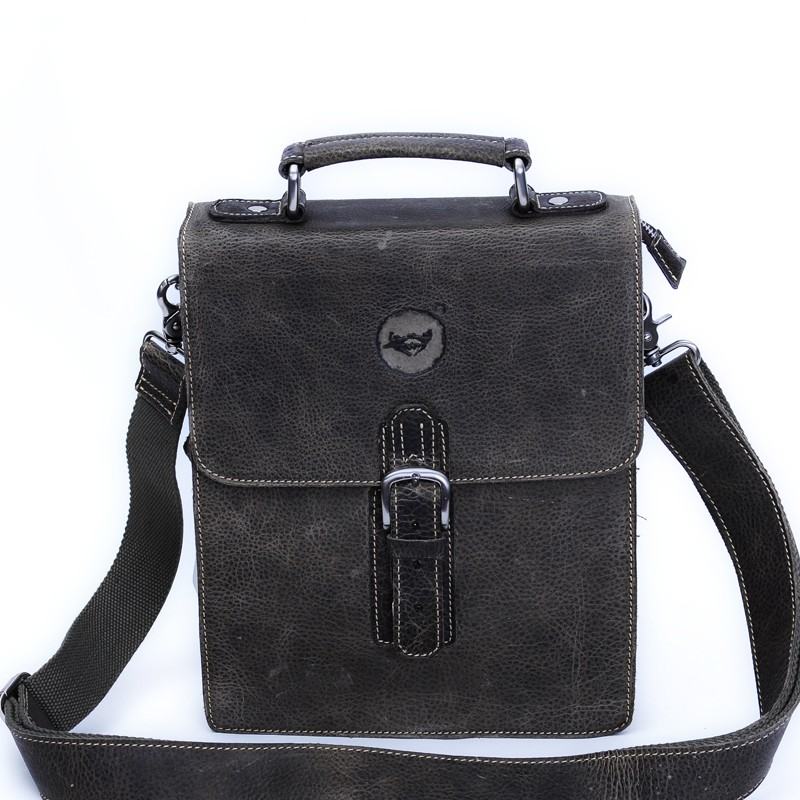 Mens leather messenger bag, vertical messenger bags - BagsWish