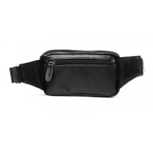 black Leather waist purse