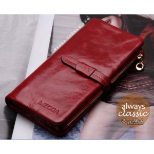 red Ladies wallet leather