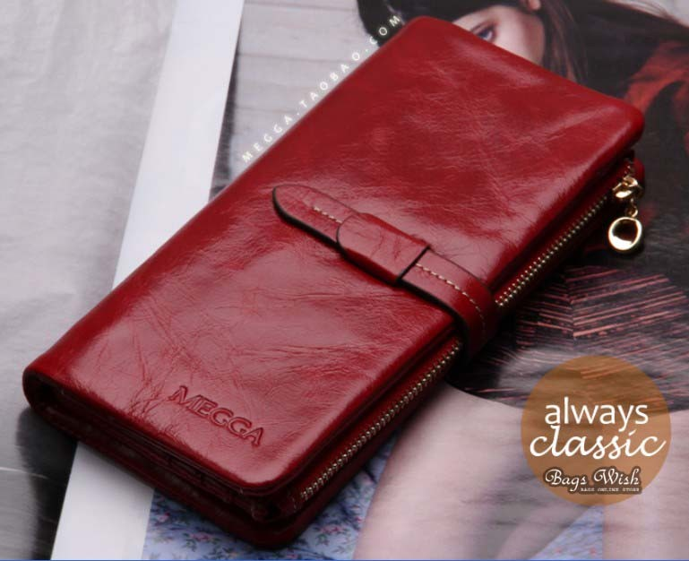 Ladies Wallet Leather Leather Trifold Wallet Bagswish