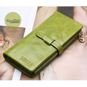 green Ladies wallet leather
