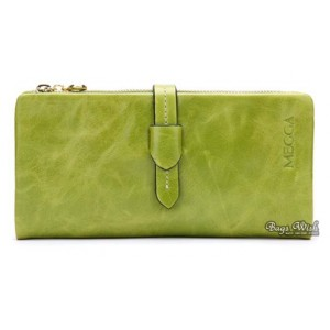 green leather trifold wallet