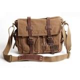 Canvas shoulder messenger bag, 14 inch laptop canvas leather satchel