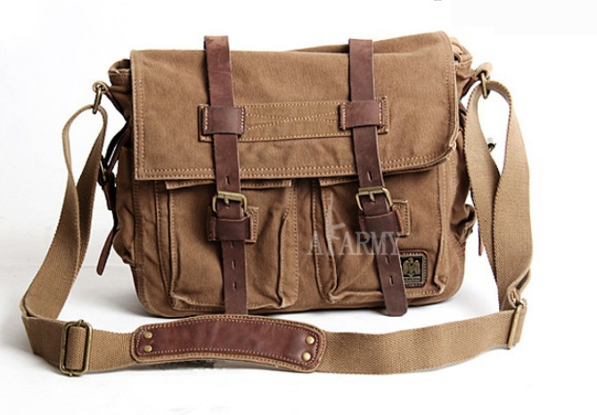 Canvas shoulder messenger bag, 14 inch laptop canvas leather ...
