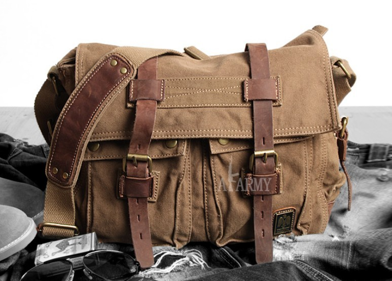 Canvas shoulder messenger bag, 14 inch laptop canvas leather ...
