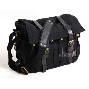 black Canvas shoulder messenger bag