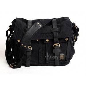 black 14 inch laptop canvas leather satchel