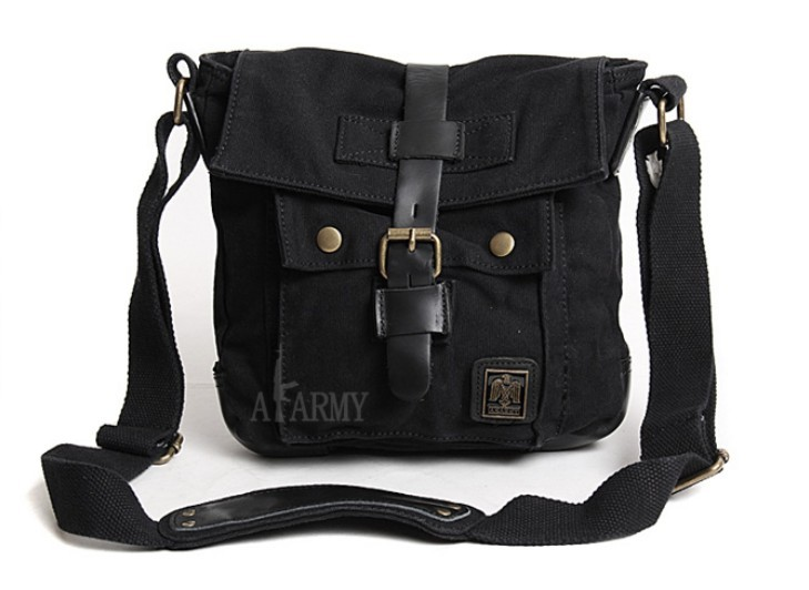 ... black small canvas messenger bag men ... 9f523cb958d28