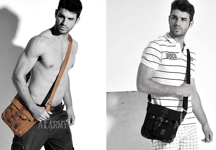IPAD casual canvas shoulder bag, small canvas messenger bag men ...