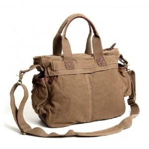 khaki Cotton canvas messenger bag