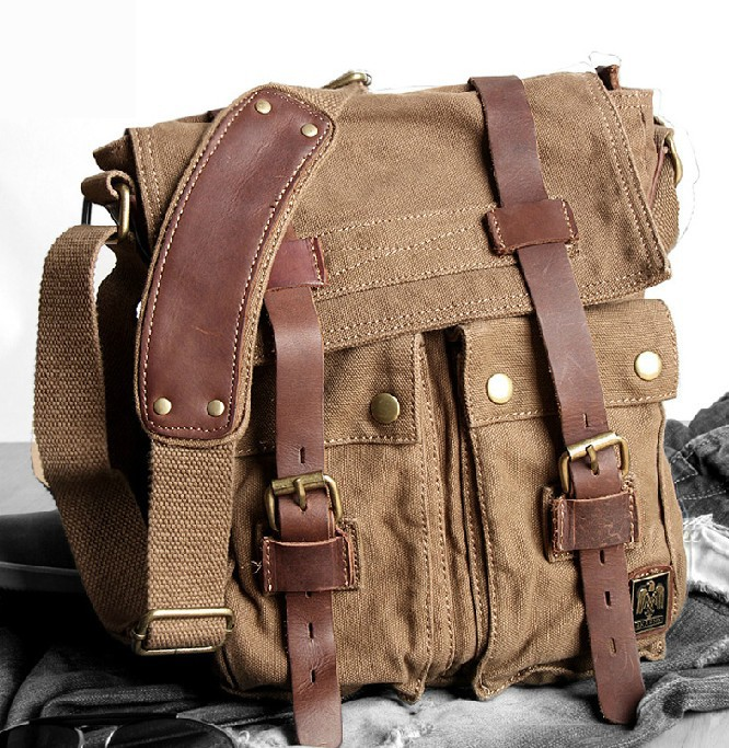 IPAD2 mens canvas shoulder bag, men's canvas satchel - BagsWish