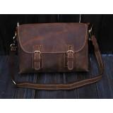 Brown leather messenger bag men, briefcases for men