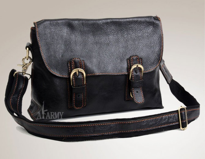 Brown leather messenger bag men, briefcases for men - BagsWish
