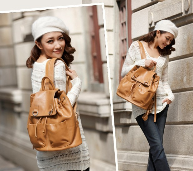 646b8271fed644 ... leather Cute girl backpacks; leather daypack backpack ...