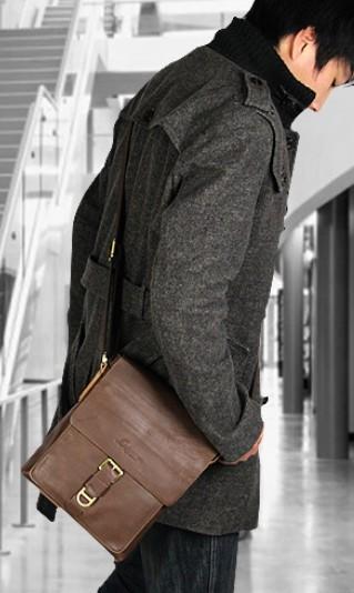 Leather shoulder bag, travel messenger bag - BagsWish