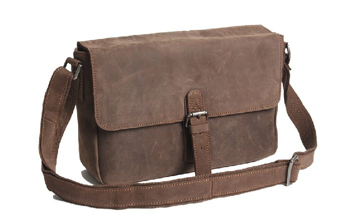 Distressed leather messenger bag, best briefcase - BagsWish