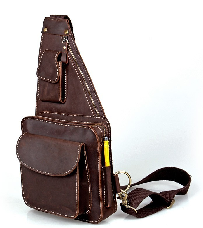 1 strap backpack, brown cross body sling bag - BagsWish