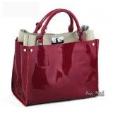 Black patent leather handbag, classic leather handbag