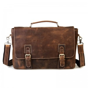 Vintage leather briefcase, coffee mens 14 laptop bag