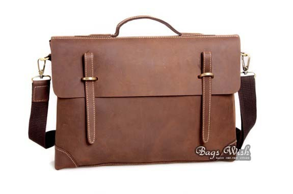 Tan Leather Bag Briefcase Laptop Computer