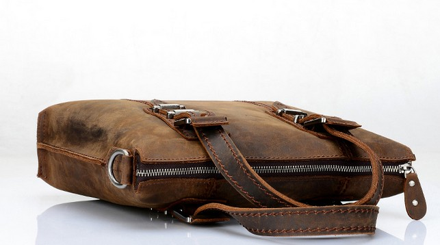 Cowhide Distressed Leather Messenger Bag Men