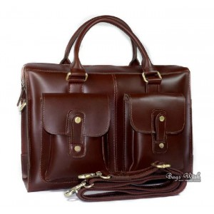 Leather briefcase bag, 14 inch leather laptop bag