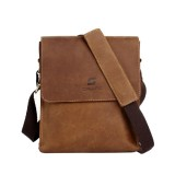 Mens vintage leather messenger bag, crossbody bag