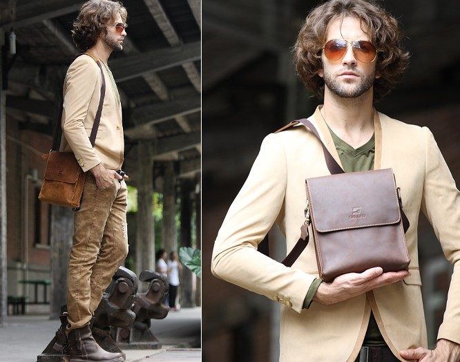 Mens vintage leather messenger bag, crossbody bag - BagsWish